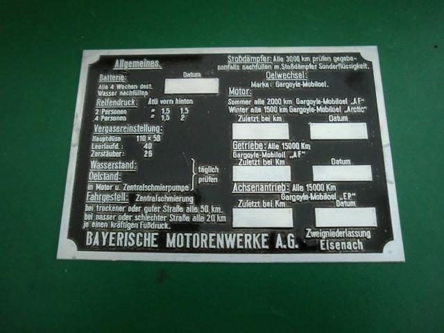 Schmierschild BMW 320 321 326 327 328 335